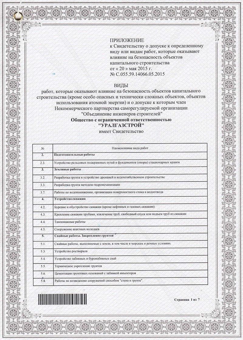 Свидетельство о допуске к работам на объектах капитального строительства (список работ - стр. 1)