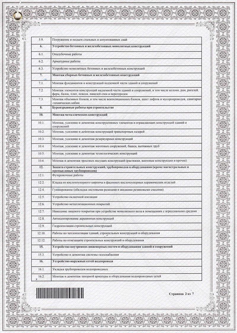 Свидетельство о допуске к работам на объектах капитального строительства (список работ - стр. 2)