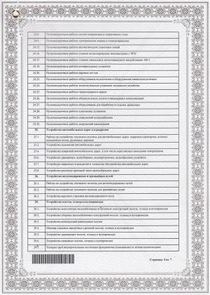 Свидетельство о допуске к работам на объектах капитального строительства (список работ - стр. 5)